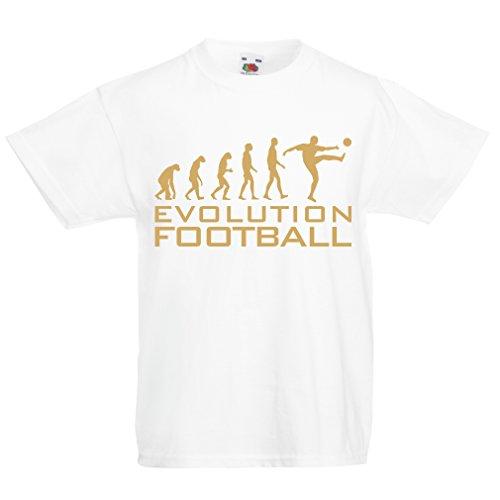 lepni.me Camiseta para Niño/Niña La evolución del fútbol - Camiseta de fanático del Equipo de fútbol de la Copa Mundial (5-6 Years Blanco Oro)