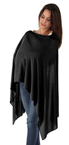 BambooMama Bamboe Borstvoeding Sjaal - Zwart - Discreet Verpleging Cover En Sjaal In Een - Het Ideaal geschenk Voor Een Nieuwe Moeder