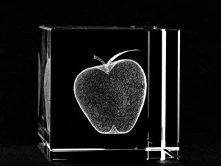 ASFOUR CRYSTAL 1166-60-32 2.4 L x 2.4 H x 2.4 W in. Crystal Laser-Engraved Apple Miscellaneous Laser-Cut