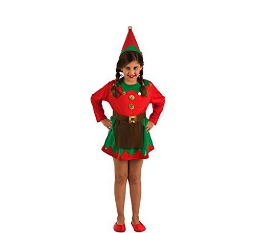 El Rey del Carnaval Disfraz de Elfa Roja y Verde para niña
