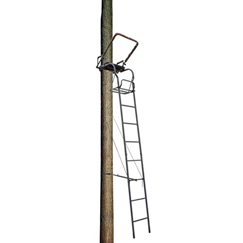 Big Dog Hunting Trail Breaker Ladder Tree Stand with Padded Flip Up Shooting Rail, 16', Grey