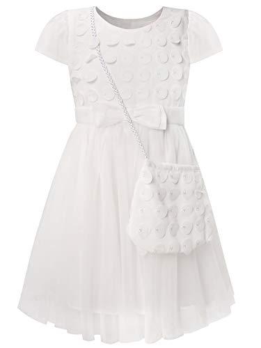 BONNY BILLY Mädchen Kleider Tüll Festlich Hochzeit Taufe Applikationen Kurzarm Kinder Kleid mit Tasche 8-9 Jahre/128-134 Weiss