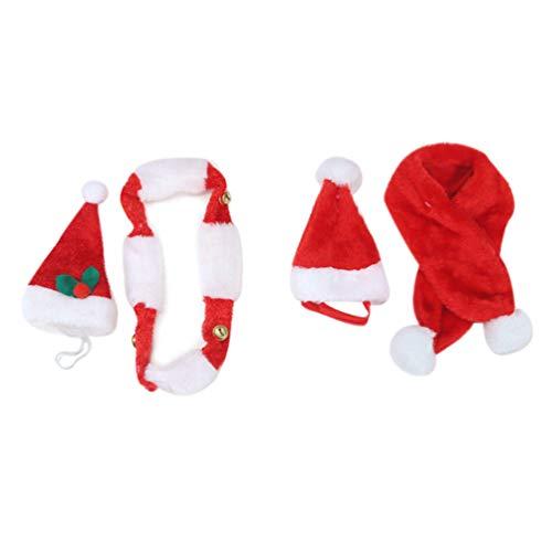 Amosfun 2 sätze Hund Katze weihnachtsmütze schal weihnachtskostüm für welpen kätzchen Katzen Hunde
