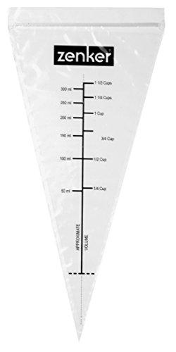 Zenker Schmelzspritzbeutel PATISSERIE, Spritztüten für die Mikrowelle oder das Wasserbad, Dressiersäcke mit Maßangabe (Farbe: Transparent), Menge: 10 Stück