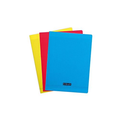 Calligraphe 183390AMZC Lot de 3 Cahiers Agrafés (une marque de Clairefontaine) - 24x32 cm - 192 Pages Grands Carreaux - Papier Blanc 90 g - Couverture Polypro Transparent (Bleu, Rouge, Jaune)