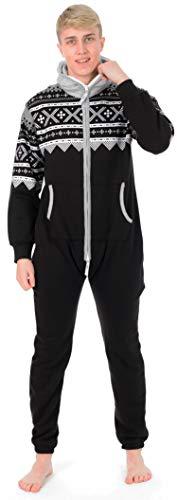 Juicy Trendz® Herren Onesie Overall Trainingsanzug Jogginganzug Einteiler Muster Jumpsuit, D2-black, XL