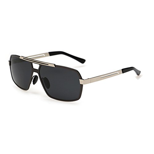 Tansle Luxus-Marke Herren Sonnenbrille, dünnes Metallgestell, Pilotenlinse, 56 mm, Schwarz