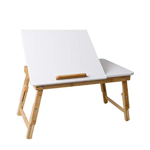 ZXL Portable Bamboo Folding Laptop Desk Student Writing Desk Adjustable Height Tray Table Bed with Drawer, 55x35x22/30cm