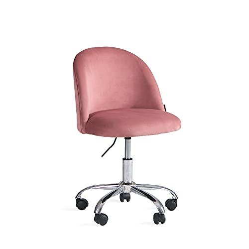 Ergonomischer Bürostuhl Ohne Armlehne Höhenverstellbar Rollhocker mit Lehne Bürohocker mit Rücken 360° Altrosa Drehstuhl mit Rollen