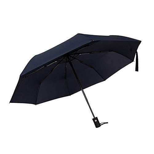 DZX Paraguas Impermeable, Paraguas a Prueba de Viento Paraguas para Mujer Sombrilla Triple Protección Solar Resistente Ligero Mango de Goma fácil de Abrir (Rojo) (Gris Oscuro)