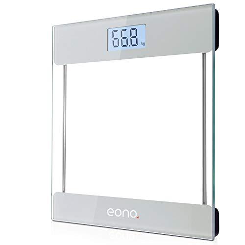 Eono by Amazon - Pèse Personne Électronique Balance Pese Personnes Précision, Auto On/Off, Verre Trempée, Haute Qualité Sécurité, 180kg/400lb, Haute Précision, Grand LCD Rétroéclairé, 2 Piles AAA