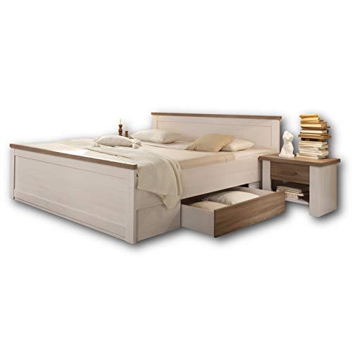 LUCA Stilvolle Bettanlage 180 x 200 cm mit 2x Nachtkommoden & 2x Bettkästen - Schlafzimmer Komplett-Set in Pinie Weiß / Trüffel - 186 x 91 x 205 cm (B/H/T)