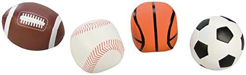 Lena 62164 - Soft Sportbälle 4er Set, Bälle als Fußball, Volleyball, Basketball und Rugbyball, Softbälle je 10 cm, im Netz, Spielbälle für Kinder ab 1 Jahr, Schaumstoffbälle zum Spielen und Baden
