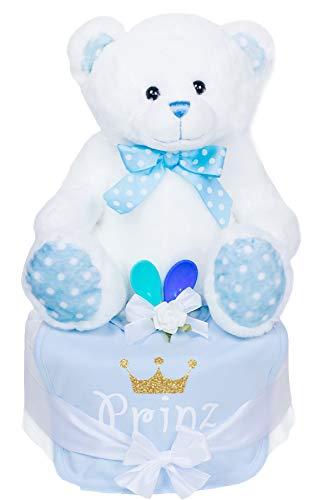 Trend Mama Windeltorte Junge mit großem Teddybär + Baby Lätzchen hochwertig bedruckt Glitzer Krone Prinz +2 Breilöffel+Grußkarte