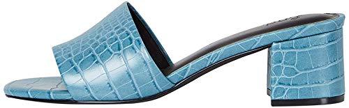 Amazon-Marke: FIND Block Heel Mule Offene Sandalen, Blau (Blue Croc), 38 EU