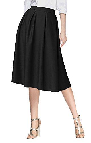 urban GoCo Mujeres Vintage Falda Midi Plisada A-Line con Bolsillos Faldas Larga Negro L