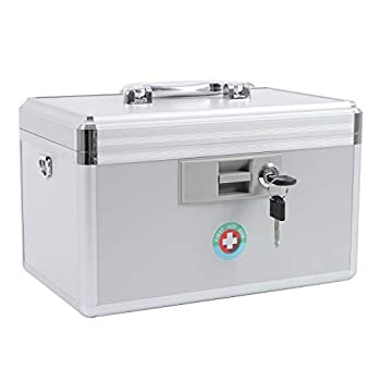 KYODOLED Locking Key Medicine Box,First Aid Key Safe Box with Lock,Key Medication Storage Lock Box for Drugs Use 12.2   x 7.8   x 8.2   White