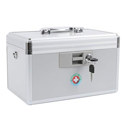 KYODOLED Locking Key Medicine Box,First Aid Key Safe Box with Lock,Key Medication Storage Lock Box for Drugs Use, 12.2'' x 7.8'' x 8.2'' White