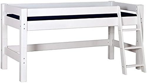 Infano Halbhochbett LAHE mit Schr r Leiter - Kiefer massiv Weiß