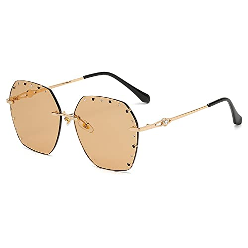 AMFG Personalidad Huele Polygon Women's Sunglasses Rimless Sunglasses Metal Gafas de metal (Color : B)