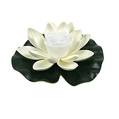 LED Light Up Floating Lotus Light, Battery Operated Artificial Lily Flower Night Lamp, Waterproof Pond Pool Garden Aquarium Water Decor, Festival Landscape Decoration (White)