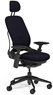 Steelcase Leap Desk Chair with Headrest in Buzz2 Black Fabric - Highly Adjustable Arms - Black Frame and Base - Soft Dual Wheel Hard Floor Casters