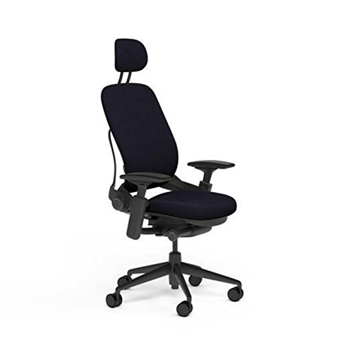 Steelcase Leap Desk Chair with Headrest in Buzz2 Black Fabric - Highly Adjustable Arms - Black Frame and Base - Standard Carpet Casters