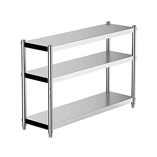 Kitchen shelf Edelstahl-Rack-Boden DREI-Schicht-Multifunktionshaushalt Einstellbare Mikrowellen Abtropfbrett Küche Storage Rack Mikrowellen-Rost (Size : XXXL(90 * 40 * 80cm))