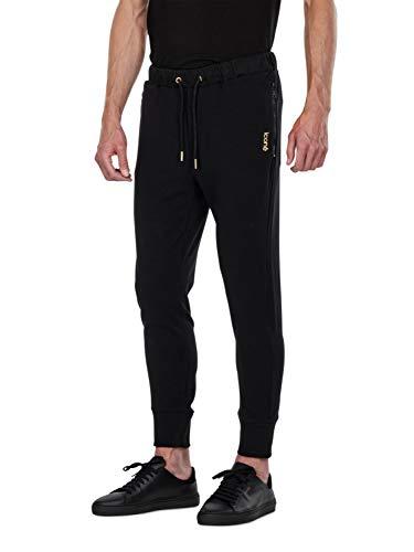 iconé Jogginghose (Schwarz mit Reißverschluss an den Taschen, L)