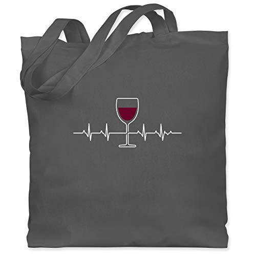 Shirtracer Symbole - Herzschlag Rotwein - Unisize - Dunkelgrau - Statement - WM101 - Stoffbeutel aus Baumwolle Jutebeutel lange Henkel