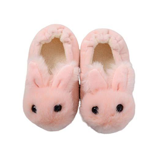 Y-PLAND Zapatillas de algodón de Conejo de Felpa de Dibujos Animados, Zapatillas Antideslizantes cálidas para Interiores y Exteriores para niños-Rosado_13/14 (Longitud Interior 14,5 cm)