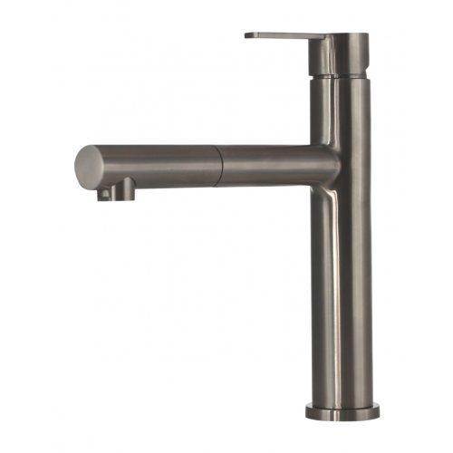Spültischarmatur Wasserhahn Küche Spültisch Armatur Mizzo Design Lori - 100% Edelstahl Mischbatterie - matt gebürstet - Küchenarmaturen Waschtischarmatur Einhebelmischer
