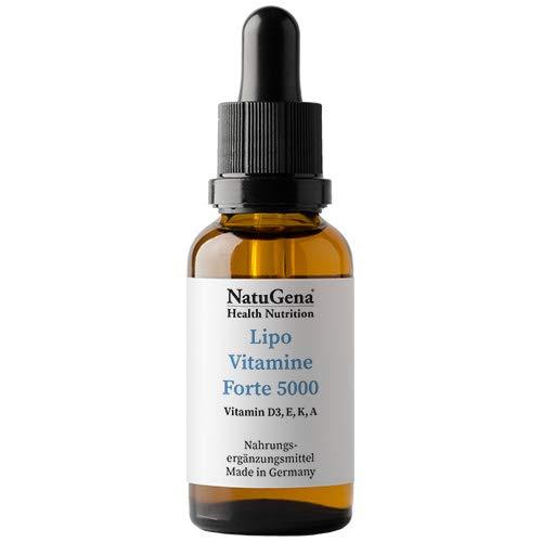 NatuGena Lipo VitamineForte 5000, Vitamin D3, E, K, A, fuer ein starkes Immunsystem, 20 ml Familienpackung