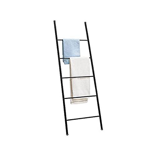 Kasahome Scaletta Scala Porta Asciugamani Arredo Bagno Moderna in Metallo Casa 33x120 cm con 4 ripiani Bianco o Nero (Nero)