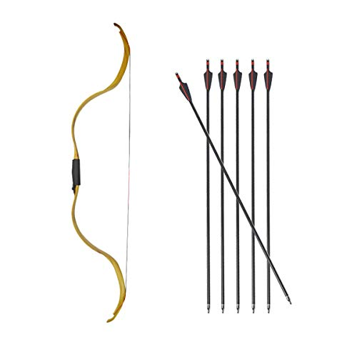 AMEYXGS Traditional Recurve Bow Hunting 20lbs Longbow Detachable Archery Mongolian Horsebow with 6pcs Fiberglass Arrow for Beginner Archery Recurve Bow (Yellow, Bow and Arrow)
