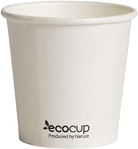 Papier Koffiebeker Composteerbaar. Wit. Gemaakt van duurzaam bron- en FSC gecertificeerd papier. Gevoerd met plantaardige PLA IngeoTM. Compostable coffee cups 4 oz./500 Uds.