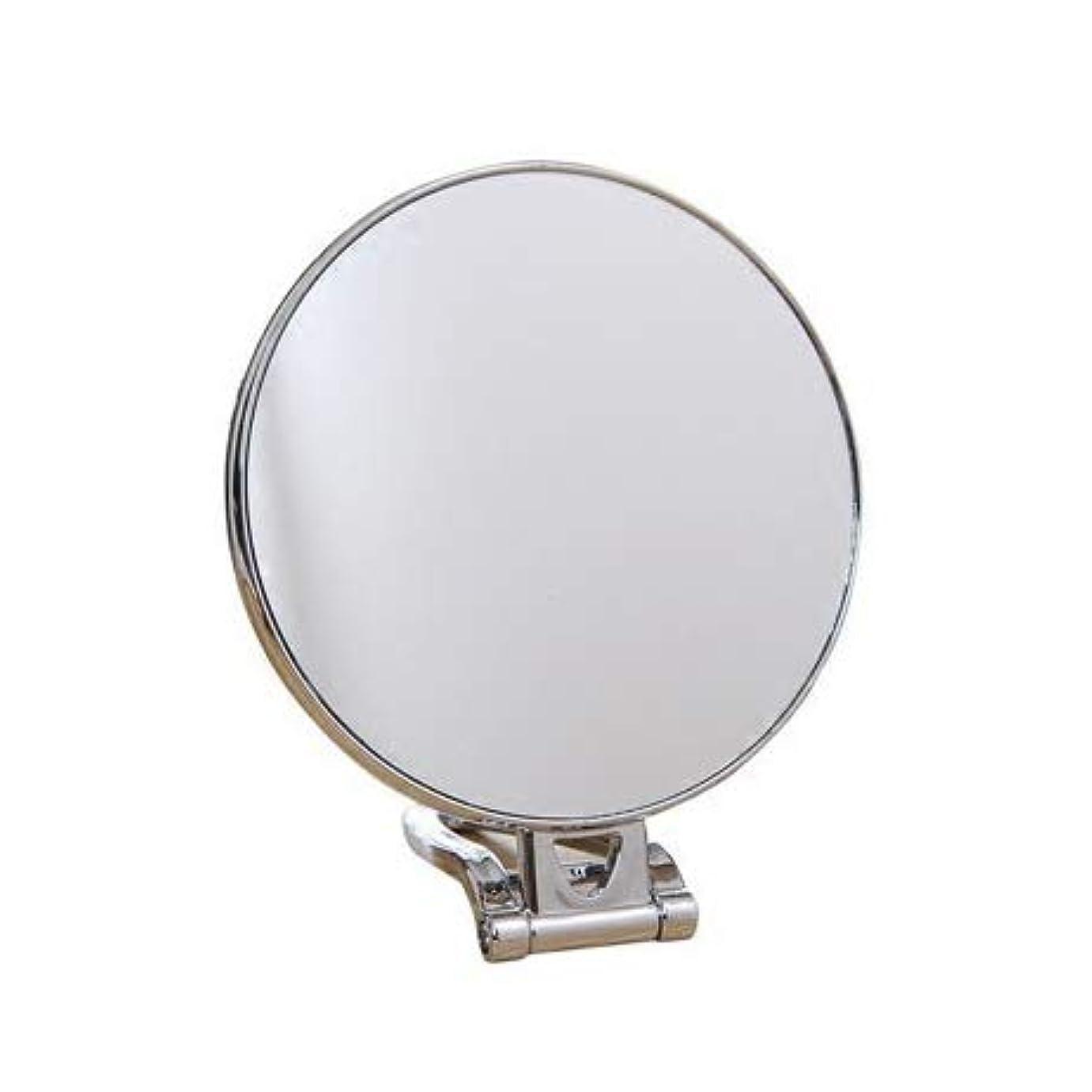 移動する比率心理的KSWD 円形 化粧鏡、 両面 倍率3倍 折りたたみ式 テーブルトップ ウォールマウント 2-In-1 化粧ミラー、 銀、 ミラーサイズ 14.5cm