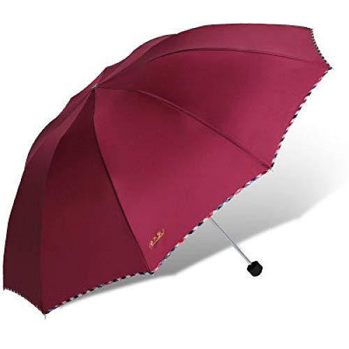 langchao Parapluie Pliant Super Grand Parapluie 3 Personnes dix os 10 pièces Coupe-Vent et imperméable à la Pluie Solide et Durable 3311E - 1 vin Rouge 64cm * 10 côtes de Parapluie