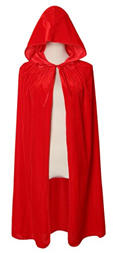 Diffly 39' Kids Velvet Hooded Cape Unisex Halloween Cloak for Devil Witch Wizard Halloween Christmas Cosplay (Red)