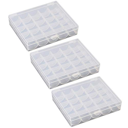 MILISTEN Caja de Bobinas Vacías de 3 Piezas Multifunción 25 Rejillas Máquina de Coser Caja de Bobina Caja Transparente Caja de Almacenamiento Cajón para Uso Doméstico de Viaje (Solo Caja Vacía)