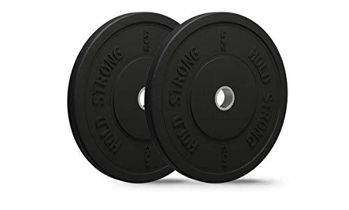 HOLD STRONG Fitness Bumper Plates aus Vollgummigranulat im Set - Aufnahme 50,4 mm - 2 x 5 kg, 2 x 10 kg, 2 x 15 kg, 2 x 20 kg - Hergestellt in der EU - Hantelscheiben, Gewichtsscheiben (A: 2 x 5 kg)