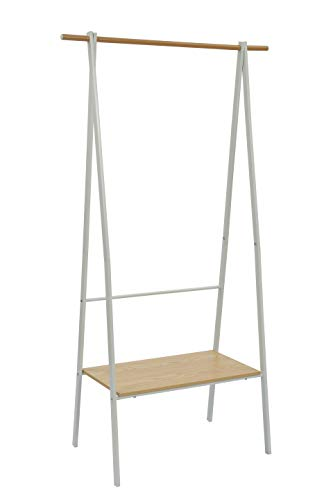 Home-Like Garment Rack with Wooden Board Hanging Rail Clothing Rail Coat Hanger Clothes Rail Garment Rail Freestanding Clothes Stand Laundry Rack White Drying Rack 86.5cmX42.5cmX157cm (GR134W/White)