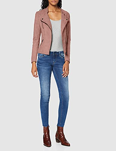 Only onlAVA FAUX LEATHER BIKER OTW NOOS - Chaqueta para mujer, Rosa (Ash Rose Ash Rose), 42