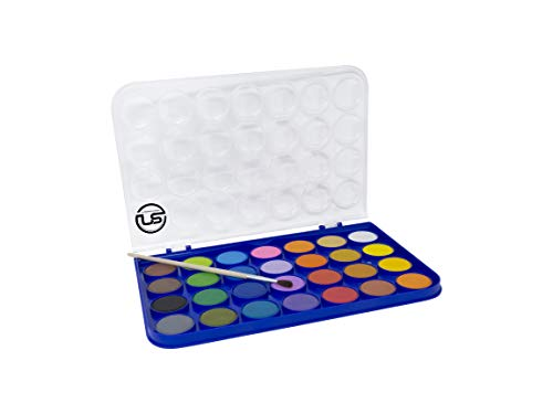 Washable Watercolor Paint Set 28 Vivid Colors Includes Watercolour Mixing Palette and 1 Brush, Perfect for Artists, Beginner Painters, Kids and Adult Painting Non Toxic
