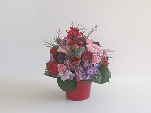 Blumendekoration Rosen in Weinrot Rosen in Rot Hortensien künstliche Blumen Tischgesteck Blumengesteck Seidenblumen Blumendekoration Muttertagsgeschenk Geburtstag Hochzeit