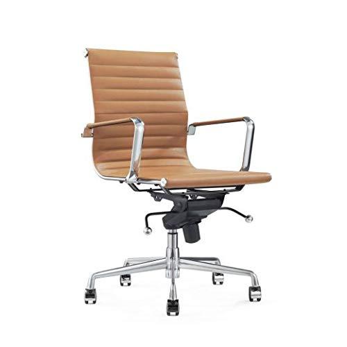 Vivol Valencia Cognac designerskie krzesło biurowe, ergonomiczne, skórzane krzesło biurowe, 120 kg, krzesło obrotowe z kółkami i podłokietnikami, krzesło biurowe Cognac