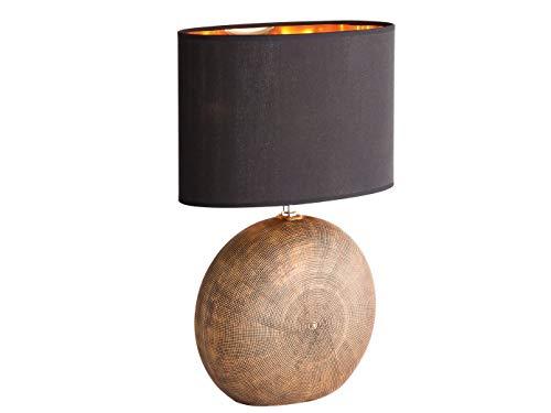 LED Tischlampe Hockerleuchte 53cm mit Keramikfuß Beonzefarben & Stoff-Lampenschirm oval Schwarz Kupfer
