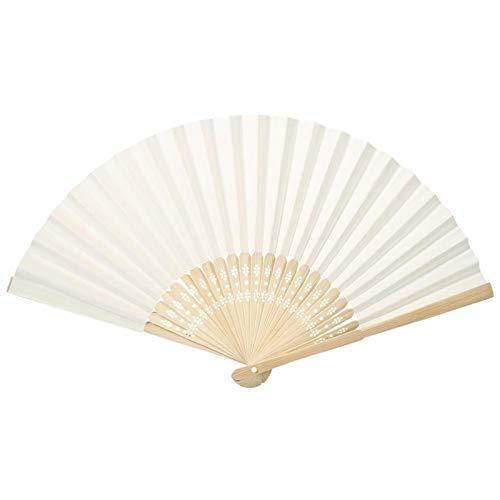 Ventagli cinesi di carta fai-da-te di vari colori Ventagli di carta pieghevoli portatili Decorazioni per feste con costole di bambù per matrimoni, bomboniere, decorazioni fai-da-te(riso bianco)