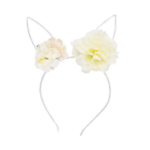 SHMAYU Diadema rosa flores orejas de conejo damas tocado infantil flor