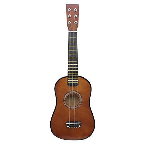 KEPOHK Mini guitarra de madera maciza de 21/23 pulgadas para niños y principiantes Guitarra acústica de tilo 12 trastes Guitarra de 6 cuerdas con púas Café de 21 pulgadas